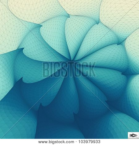 Torsion And Rotation Movement. Vector Art. Mosaic. 3D Abstract Illustration.