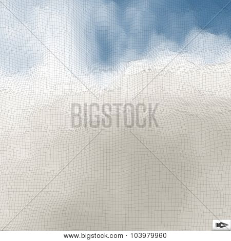 Blue Sky With Clouds. Mosaic. Abstract Mesh Background. 3d Vector Illustration.