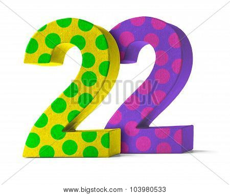 Colorful Paper Mache Number On A White Background  - Number 22