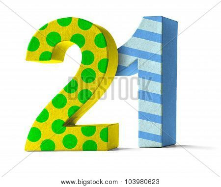 Colorful Paper Mache Number On A White Background  - Number 21