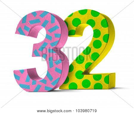 Colorful Paper Mache Number On A White Background  - Number 32