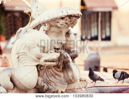 Piazza Navona. Fountain at square Rome