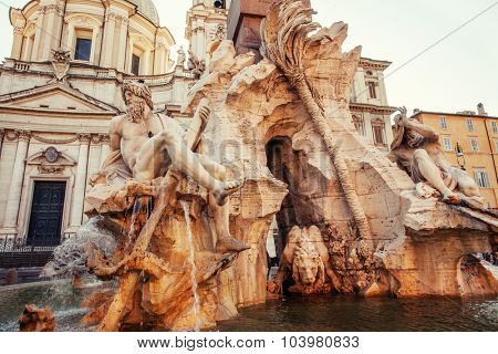 Piazza Navona. Fountain Four Rivers at square Rome