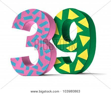 Colorful Paper Mache Number On A White Background  - Number 39