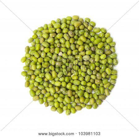 Raw Mung Beans, Vigna Radiata,  Isolated On White Background