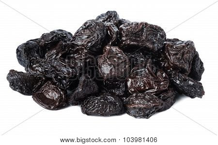 Dried Prunes On A White Background