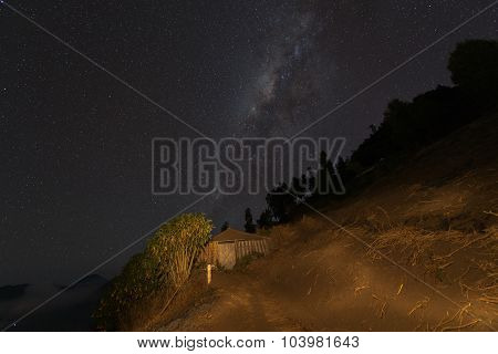 Milky way over the old house