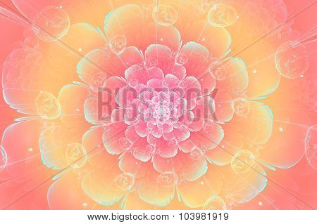 peach fractal flower, digital artwork for creative graphic design