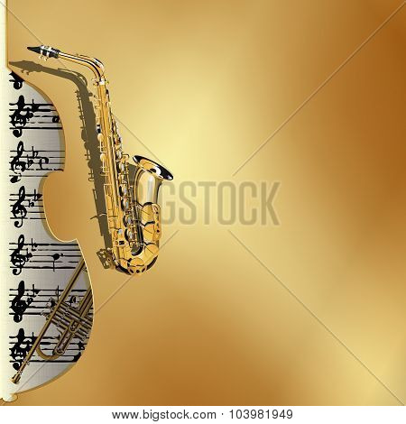 musical background in gold style contrabass