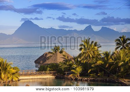 Sunset over the sea and mountains Tahiti.
