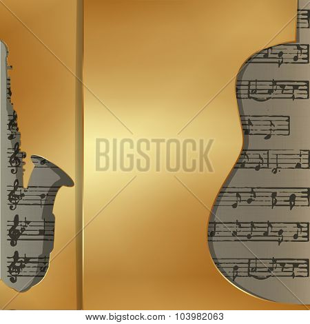 musical background in gold style sax