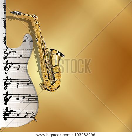 musical background in gold style