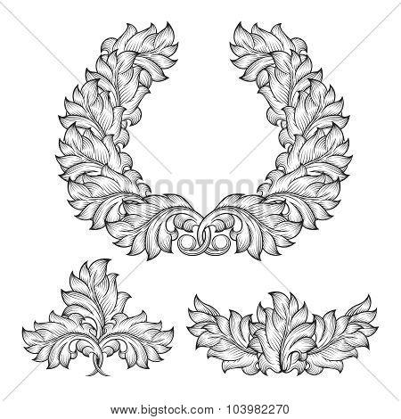 Vintage baroque floral leaf scroll ornament engraving frame element