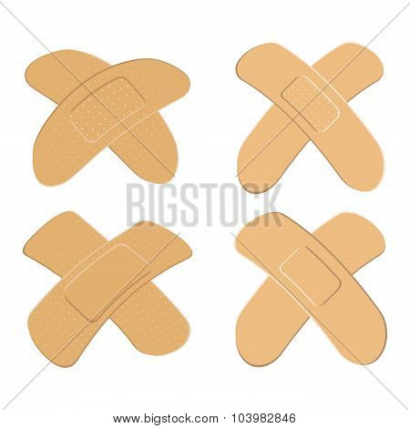 Set Of Adhesive, Flexible, Fabric Plaster . Medical Bandage In Different Shape - Curved Cross. Vecto