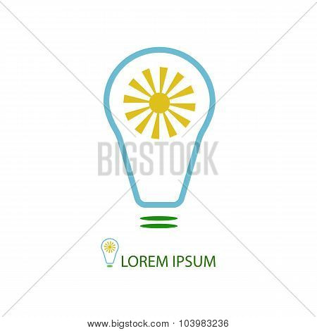 Bulb with sun as eco energy symbol