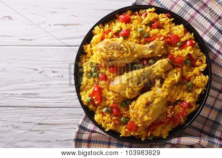 Spanish Paella With Chicken And Vegetables. Horizontal Top View