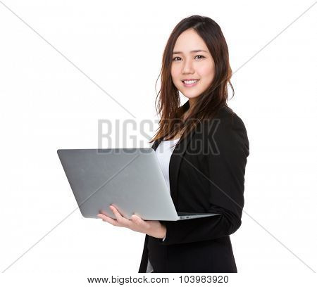 Businesswoman use of the laptop