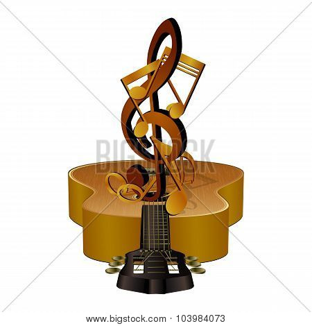 notes with treble clef guitar stand