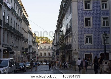 Corner Between Rua Garret And Rua Anchieta In Lisbon
