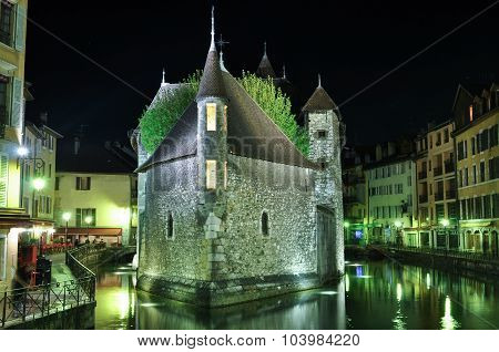 Le Palais De I'lle, Annecy, France- The Old Prison At Night
