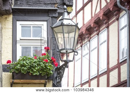 Window of a half-timbered house in Quedlinburg town, Germany