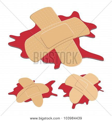 Set Of Adhesive, Flexible, Fabric Plaster With Red  Blood Puddle. Medical Bandage In Different Shape