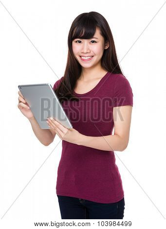 Young Woman use of the tablet pc