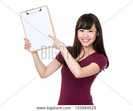Asian Woman finger point to clipboard