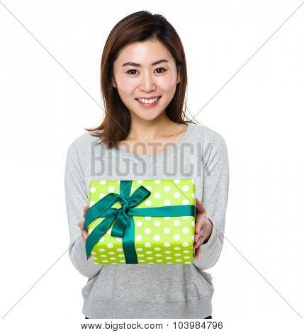 Asian Young woman hold with prsent box