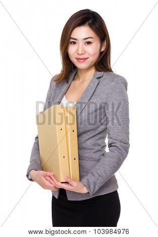 Asian Young businesswoman hold with folder