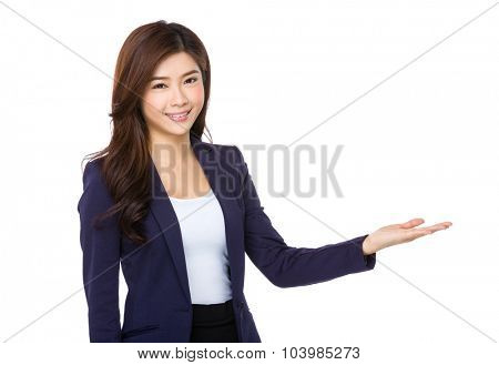Asian businesswoman hand show with blank sign