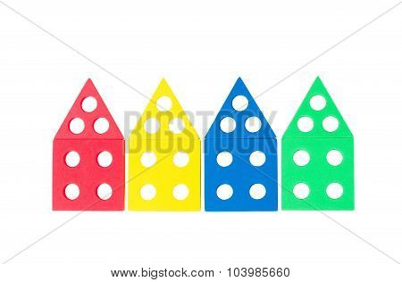 series of bright colored houses