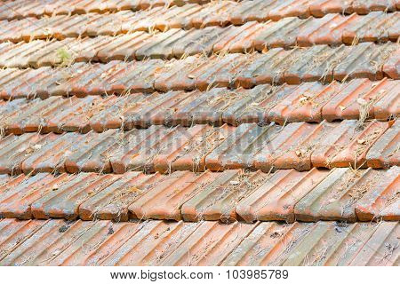 Old Roof Made Of Roof Tiles