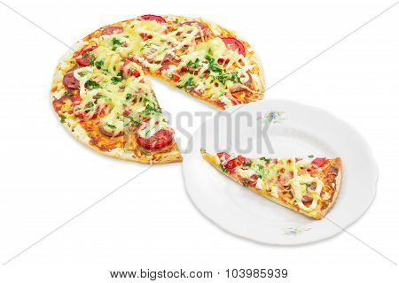 Pizza And A Slice Of Pizza On A Plate