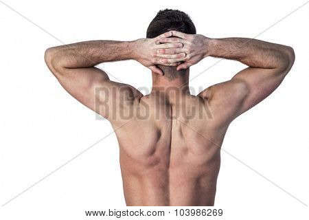 Rear view of man showing muscles over white background