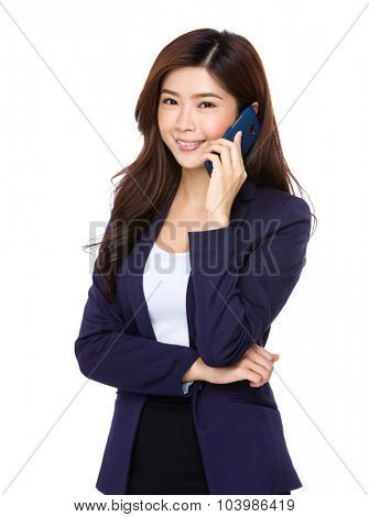 Young asian businesswoman talk to cellphone