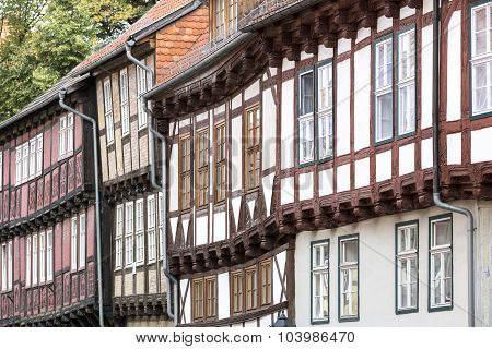 Facades of half-timbered houses in Quedlinburg town, Germany
