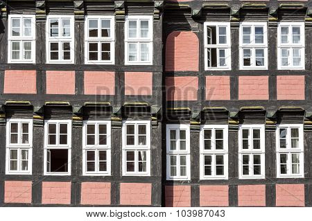 Facade of a half-timbered house in Quedlinburg town, East Germany