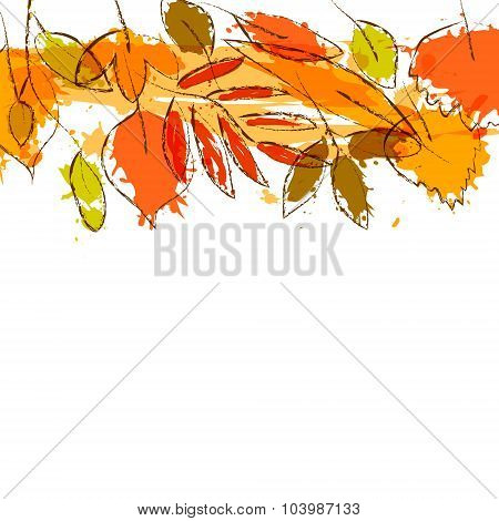 Colorful grunge autumn leaves stripe border background, vector