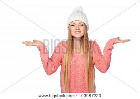 Winter girl holding copy space on her palms
