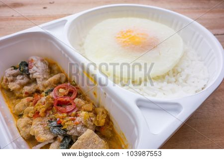 Freeze of basil Fried Chicken and fried egg convenience food