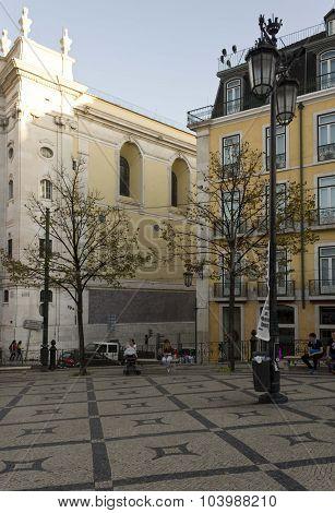 Largo Do Chiado Corner In Lisbon