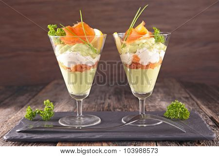 entree, avocado mousse with cream and smoked salmon