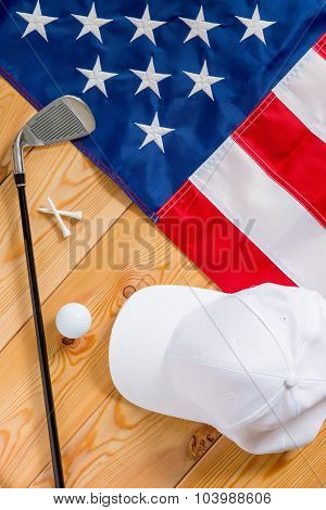 American Flag And A Set Of Golf View From Above