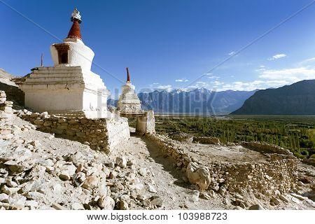 View Of Buddhist Stupas In Nubra Valley, Ladakh