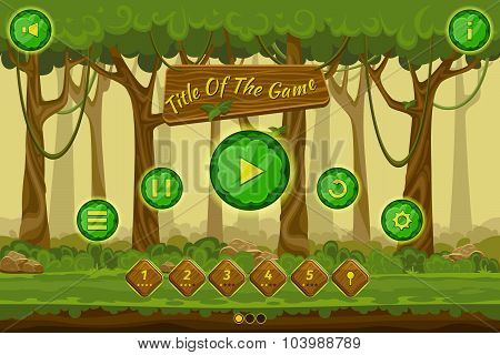 Cartoon game user interface with control elements, buttons, status bar and icons on seamless forest