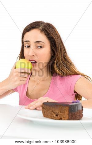 Weight Loss Woman Eating An Apple