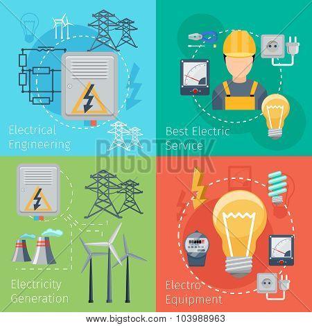 Electricity energy concepts vector set