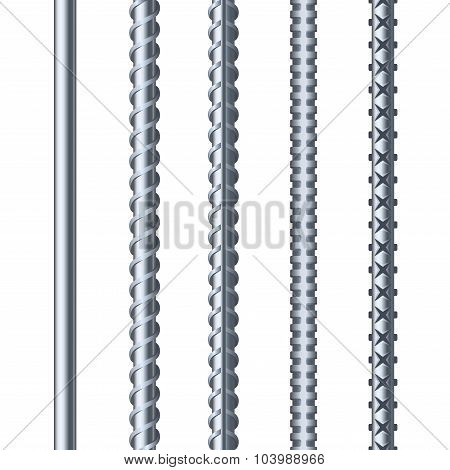Sreel Rebars Set on White Background. Metal Armature. Vector