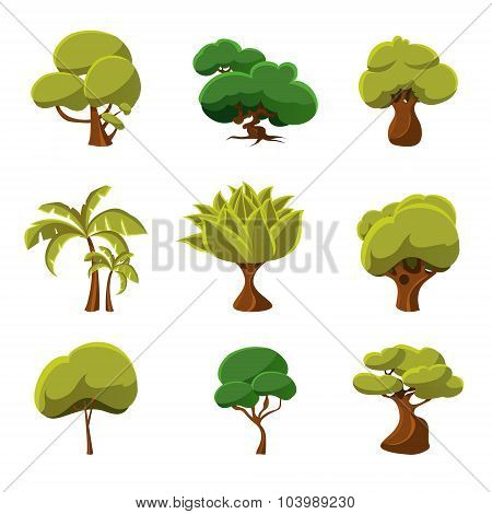 Cartoon Trees Set Vector Illustration